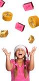 muchacha en el sombrero de santa Imagenes de archivo