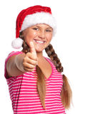 muchacha en el sombrero de santa Imágenes de archivo libres de regalías