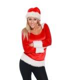 Muchacha en el sombrero de santa feliz para la Navidad Fotografía de archivo libre de regalías
