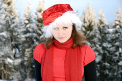 Muchacha en el sombrero rojo Fotografía de archivo
