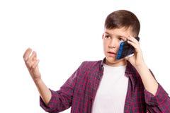 Muchacha en el teléfono celular Fotografía de archivo