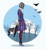 Muchacha en el traje de Halloween y el sombrero del mago a disposición contra la luna grande, noche de Halloween ilustración del vector