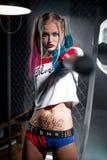 Muchacha en el traje Harley Fotografía de archivo