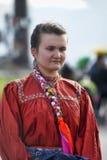 Muchacha en el traje ruso viejo del siglo XIX Fotos de archivo libres de regalías
