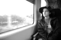 Muchacha en el tren #3 imagen de archivo