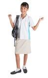 Muchacha en el uniforme escolar y la mochila IX Imagen de archivo