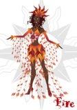 Muchacha en el vestido del carnaval, representando el elemento del fuego, muñeca articulada stock de ilustración