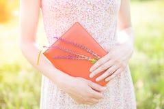 Muchacha en el vestido del verano que sostiene un libro Fotos de archivo