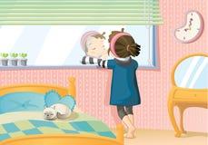 Muchacha en espejo Fotografía de archivo libre de regalías