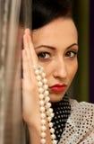 Muchacha en estilo retro. labios rojos Imagen de archivo libre de regalías