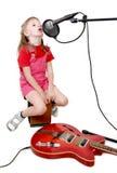 Muchacha en estudio audio Fotos de archivo libres de regalías