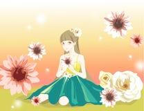 Muchacha en flores Imágenes de archivo libres de regalías