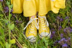 Muchacha en flores púrpuras al aire libre en verano Fotografía de archivo libre de regalías