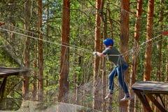 Muchacha en Forest Rope Park Challenge Imagen de archivo libre de regalías