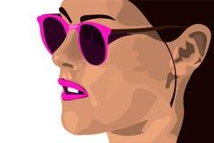 Muchacha en gafas de sol rosadas con el pelo oscuro Illustrat elegante del vector Imagen de archivo