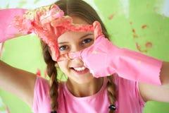 Muchacha en guantes Imagen de archivo libre de regalías