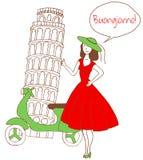 Muchacha en Italia stock de ilustración