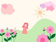 ¡Muchacha en jardín mágico! Foto de archivo