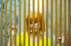 Muchacha en jaula de oro Imagen de archivo
