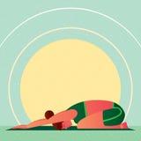 Muchacha en la actitud de reclinación o Balasana de Childs de la yoga stock de ilustración