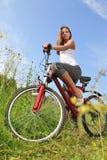Muchacha en la bici Fotos de archivo libres de regalías