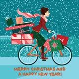 Muchacha en la bici con los regalos, venta de la Navidad Imagenes de archivo