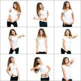 Muchacha en la camiseta blanca Fotografía de archivo