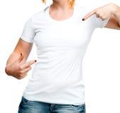 Muchacha en la camiseta blanca Imágenes de archivo libres de regalías