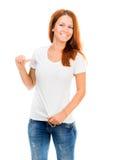 Muchacha en la camiseta blanca Imagen de archivo