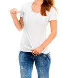 Muchacha en la camiseta blanca Imagenes de archivo