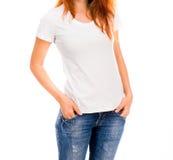 Muchacha en la camiseta blanca Imagen de archivo libre de regalías