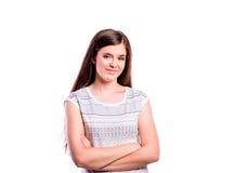 Muchacha en la camiseta blanca, mujer hermosa joven, tiro del estudio Imagen de archivo libre de regalías