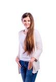 Muchacha en la camiseta y el suéter, mujer joven, tiro del estudio Fotos de archivo
