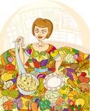 Muchacha en la cocina Fotografía de archivo libre de regalías