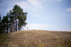 Muchacha en la colina Foto de archivo libre de regalías