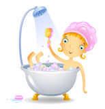 Muchacha en la ducha libre illustration