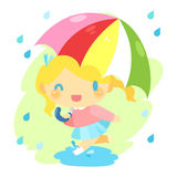 Muchacha en la lluvia Fotos de archivo libres de regalías