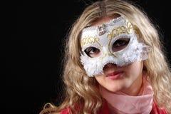 Muchacha en la máscara veneciana Imagen de archivo
