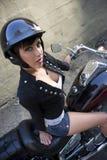 Muchacha en la motocicleta Fotos de archivo