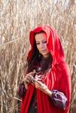 Muchacha en la naturaleza en una capa roja fotos de archivo libres de regalías