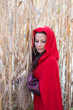 Muchacha en la naturaleza en una capa roja imágenes de archivo libres de regalías