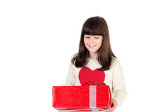 Muchacha en la Navidad con las cajas de regalo Foto de archivo