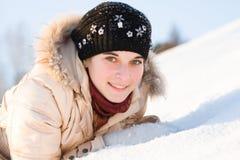 Muchacha en la nieve Imágenes de archivo libres de regalías