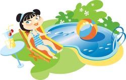 Muchacha en la piscina Fotografía de archivo libre de regalías