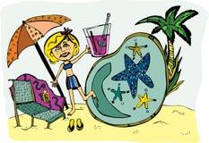 Muchacha en la piscina o la playa Imagen de archivo