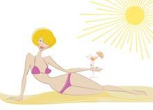 Muchacha en la playa libre illustration