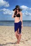 Muchacha en la playa Imagenes de archivo