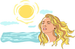 Muchacha en la playa stock de ilustración