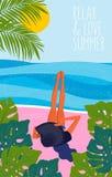 Muchacha en la playa en sombrero grande Tiempo de verano, ejemplo del vector stock de ilustración