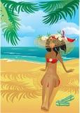 Muchacha en la playa tropical con el sombrero de paja stock de ilustración